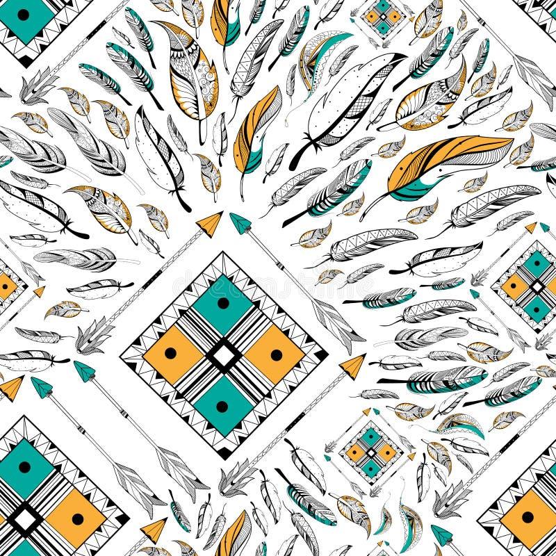 Pilen och fjädern för stam- boho utformar den sömlösa modellen royaltyfri illustrationer