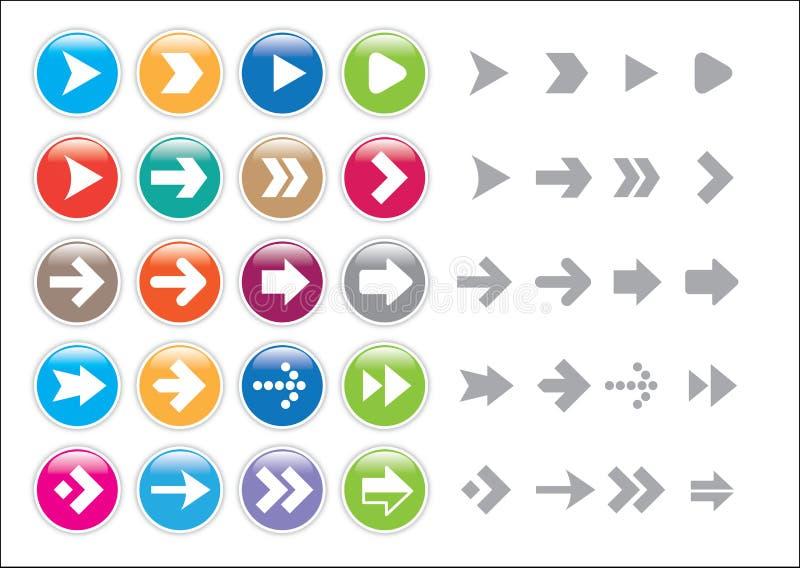 Pilen undertecknar symbolsuppsättningen stock illustrationer
