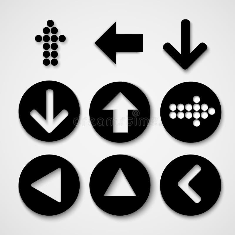 Pilen undertecknar symbolsuppsättningen Enkel cirkelform på grå bakgrund royaltyfri bild