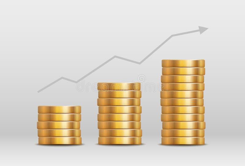 Piles brillantes de pièce d'or de vecteur - concept d'augmentation de valeur ou de revenu de devise illustration libre de droits