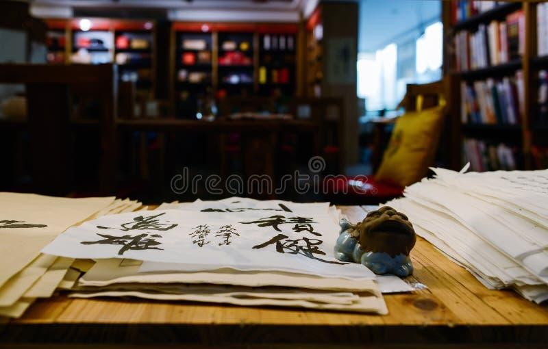 Piles of brush calligraphy handwriting on wooden stack,China stock image