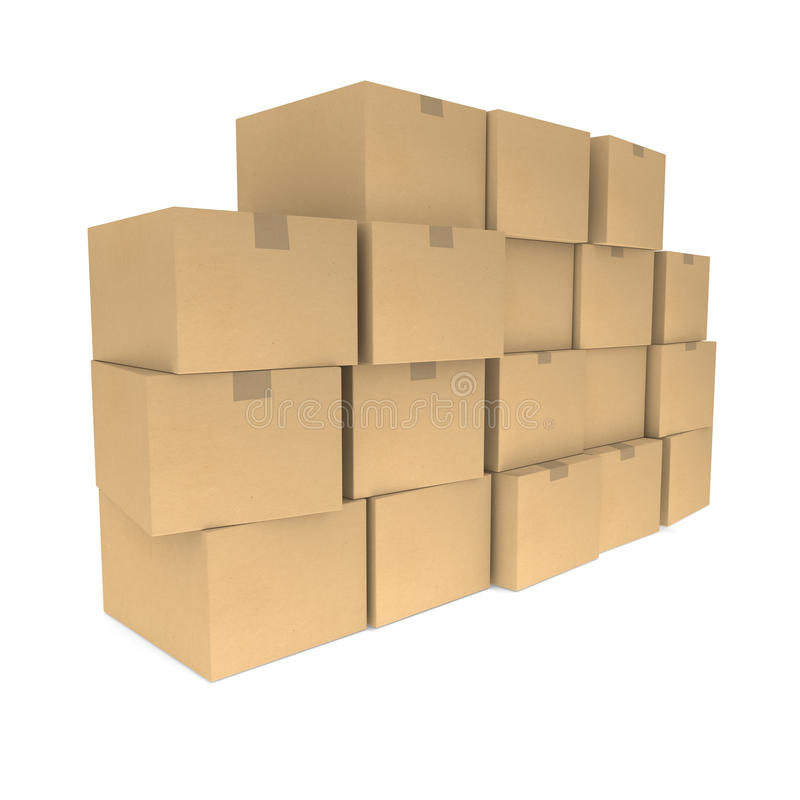 Piles of cardboard boxes vector illustration