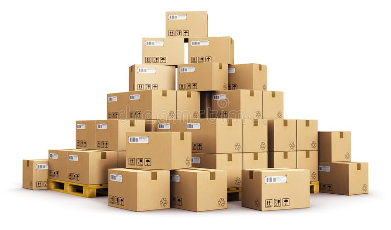 Piles of cardboard boxes on shipping pallets. Creative abstract cargo, delivery and transportation logistics storage warehouse industry business concept: 3D royalty free illustration