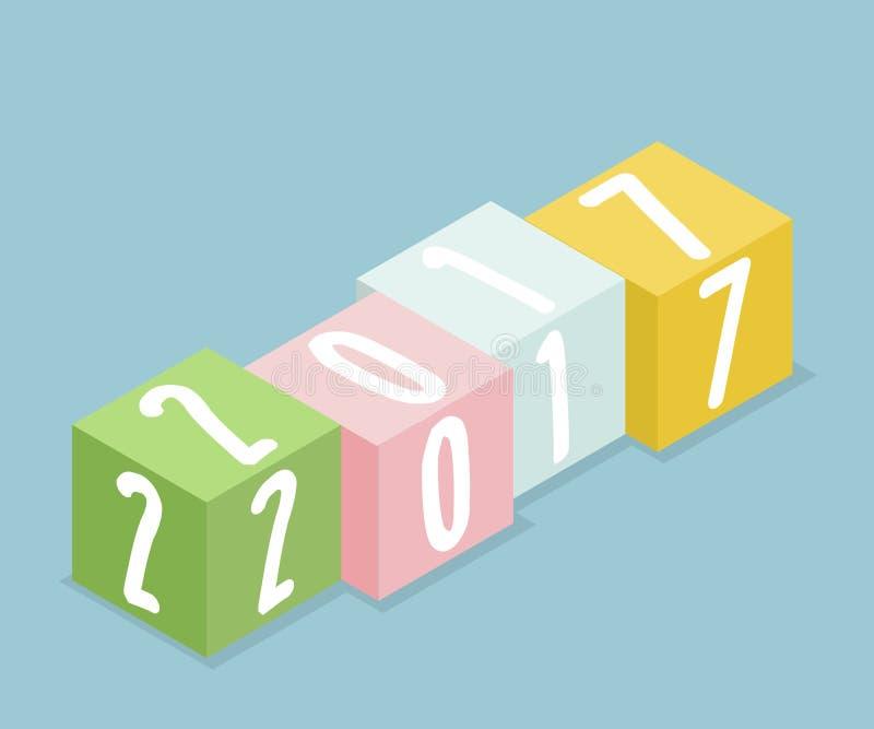 2017 piles colorées de boîte isométriques, concept Backgr de bonne année illustration de vecteur