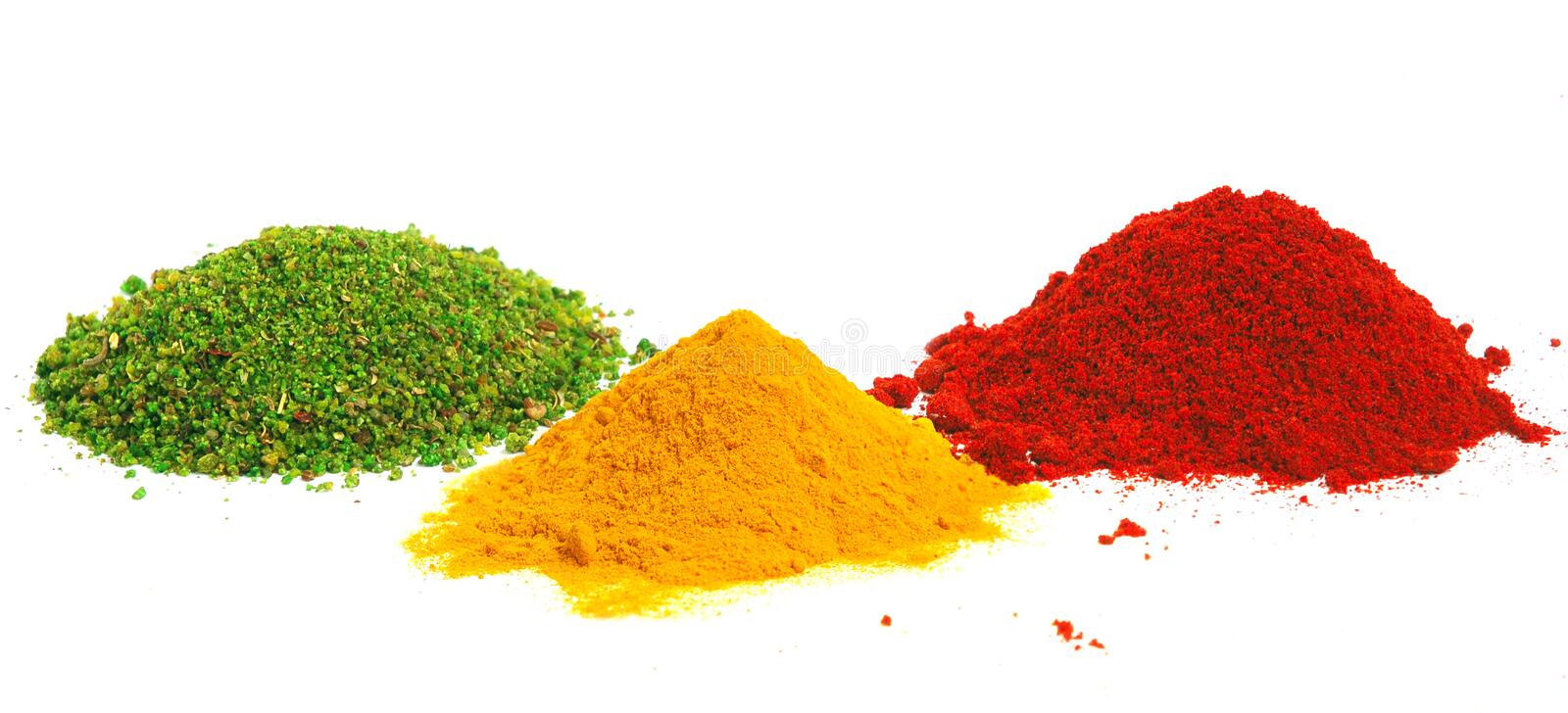 Piles of color spices stock photo
