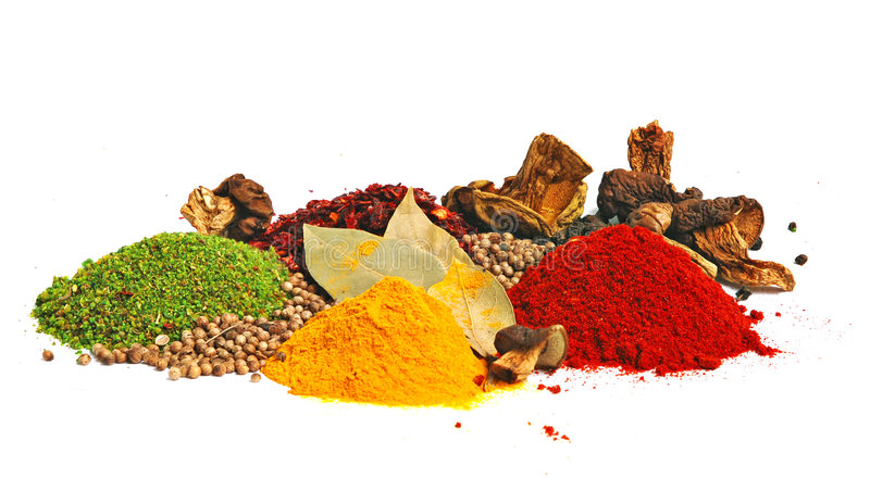 Piles of color spices royalty free stock photos