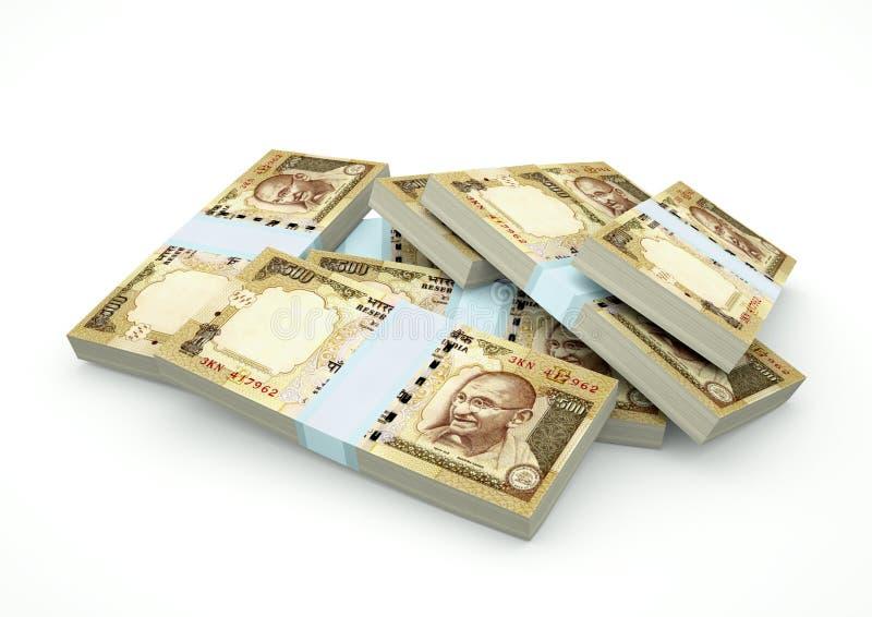 Piles d'argent d'Inde d'isolement sur le fond blanc image stock