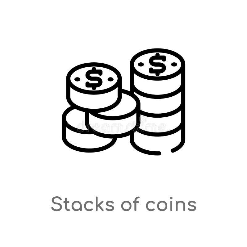 piles d'ensemble d'ic?ne de vecteur de pi?ces de monnaie ligne simple noire d'isolement illustration d'?l?ment de concept d'affai illustration de vecteur