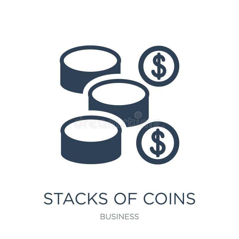 piles d'icône de pièces de monnaie dans le style à la mode de conception piles d'icône de pièces de monnaie d'isolement sur le fo illustration de vecteur