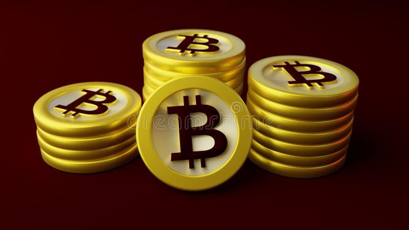 Piles de bitcoins illustration stock