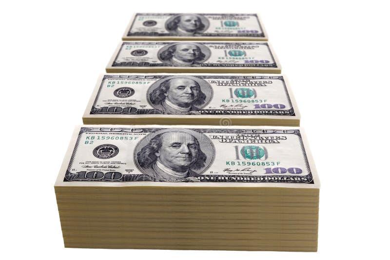 Piles de cents billets d'un dollar image libre de droits