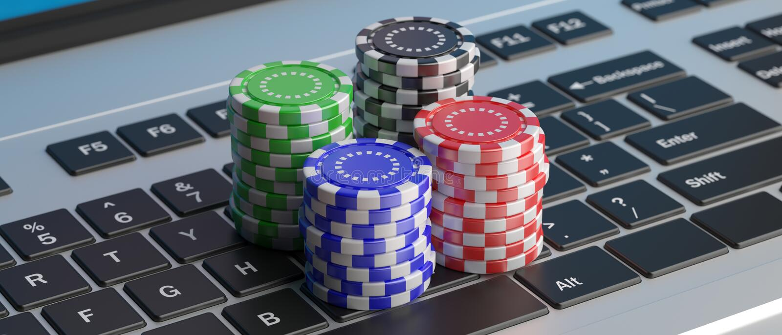 Piles de jetons de poker de casino sur un clavier d'ordinateur portable illustration 3D illustration de vecteur