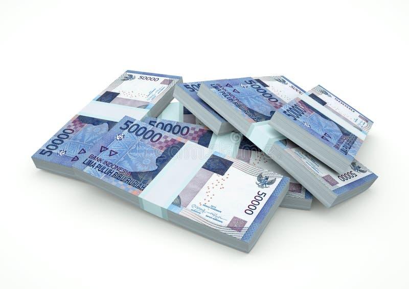 Piles de l'argent de 3D Indonésie d'isolement sur le fond blanc photo stock