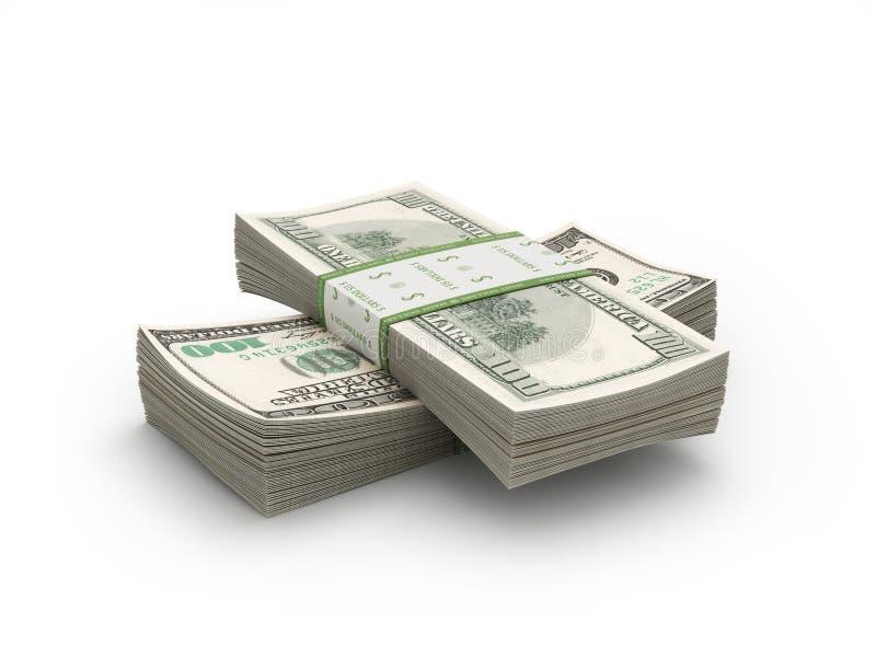 Piles de papier de 100 factures sur le blanc image stock