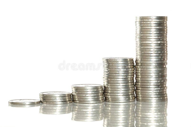 Piles de pièce de monnaie images stock