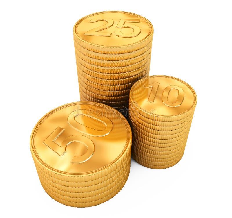 Piles de pièces d'or d'isolement sur le blanc illustration de vecteur