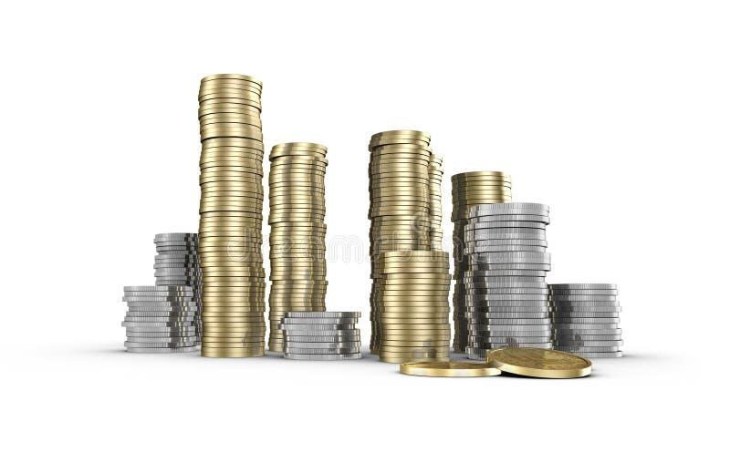 Piles de pièces de monnaie illustration libre de droits