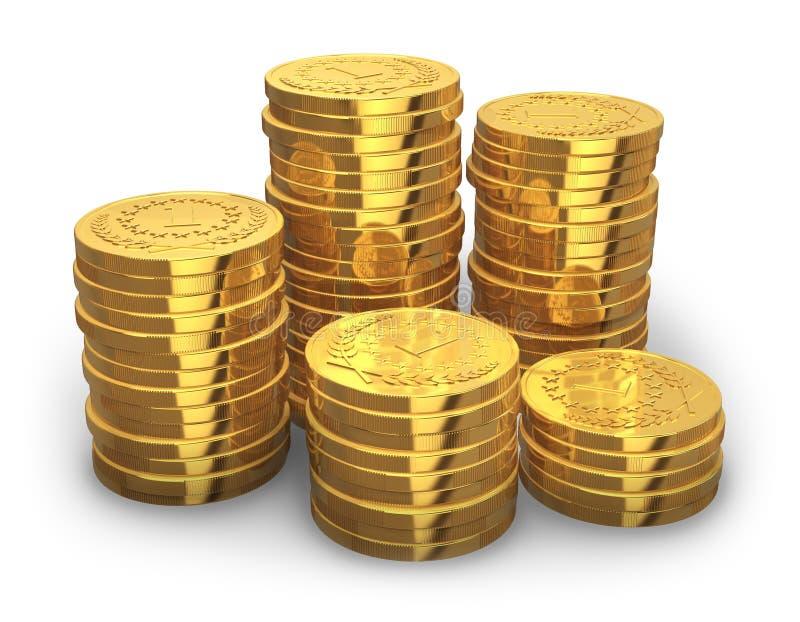 Piles de pièces de monnaie d'or illustration stock