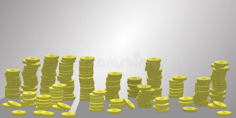 Piles de pièces de monnaie du nombre beaucoup Illustration illustration de vecteur