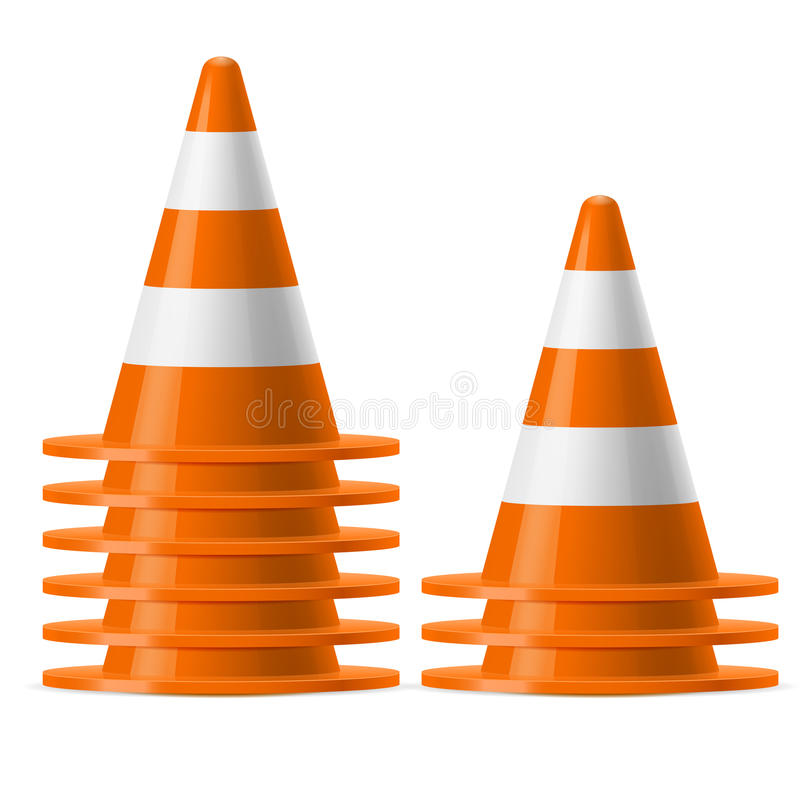 Piles des cônes du trafic illustration stock