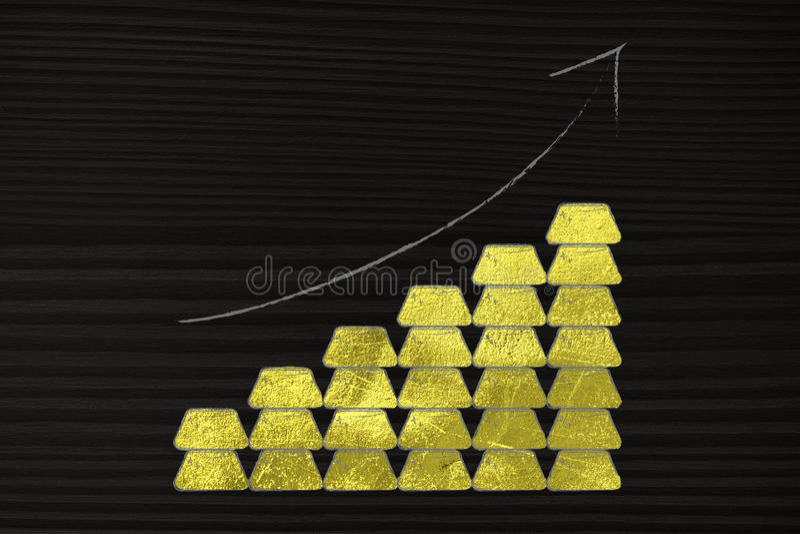 Piles des lingots d'or avec la flèche montant illustration stock