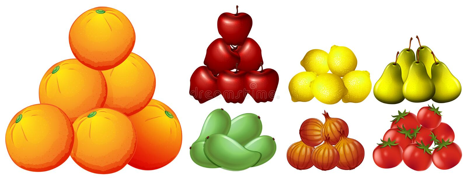 Piles of different kinds of fruits stock illustration
