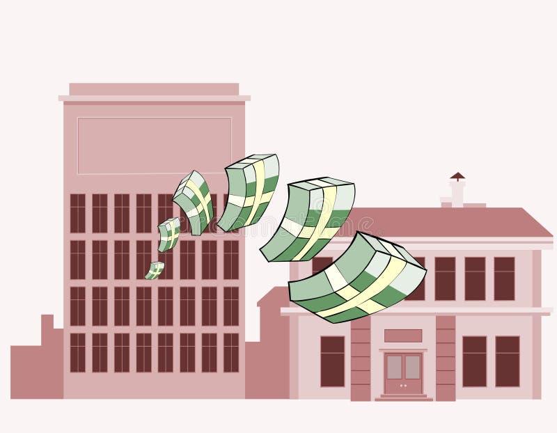 Piles du vol d'argent sur un fond des bâtiments illustration libre de droits