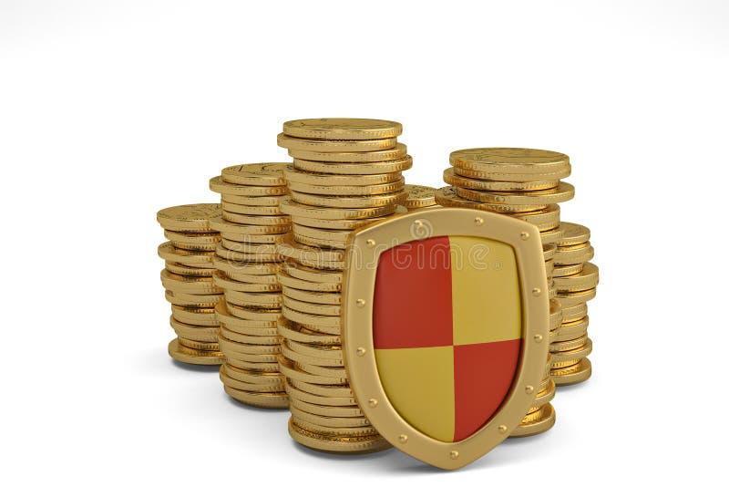 Piles financières d'assurance et de concept de stabilité d'affaires de gol image libre de droits