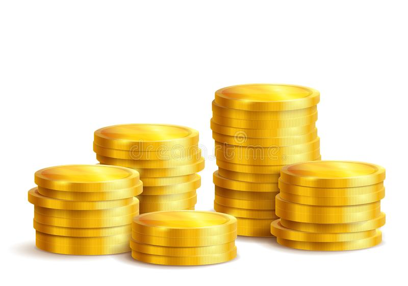 Piles of golden metal coins isolated stock illustration