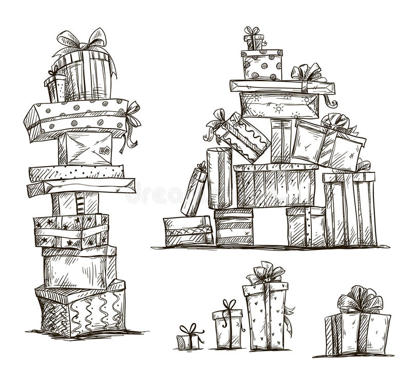 Free Piles Of Presents. Doodle Heaps Of Gift Boxes. Royalty Free Stock Photos - 40330568