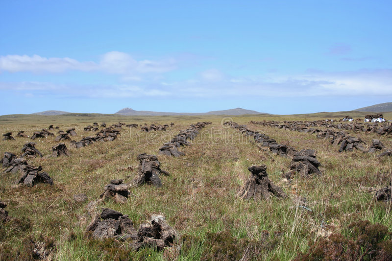 Piles of peat stock images