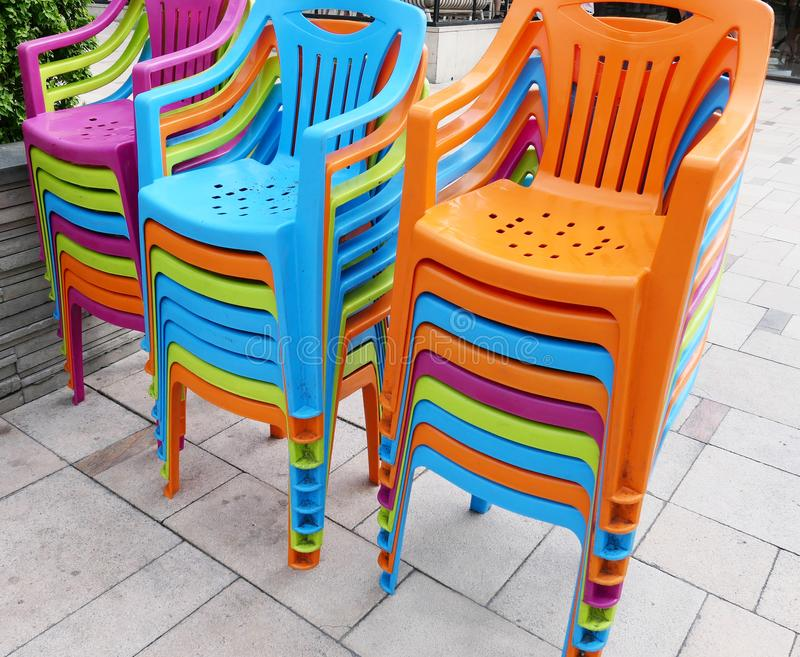 Download Colorful Plastic Chairs Stock Image. Image Of Color   112793947