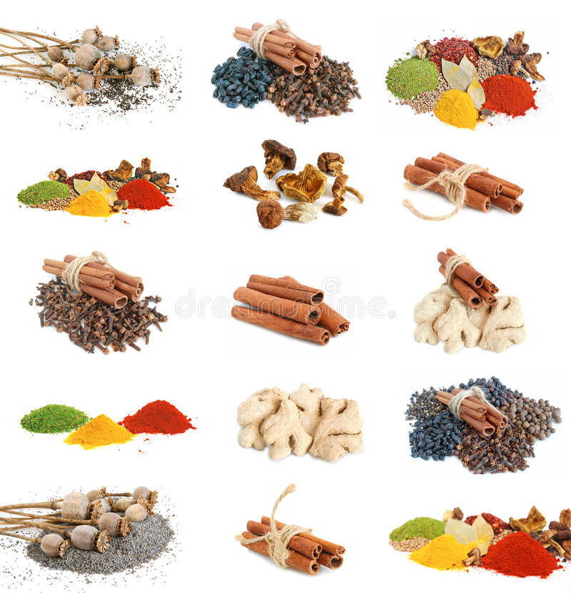 Piles of spices royalty free stock images
