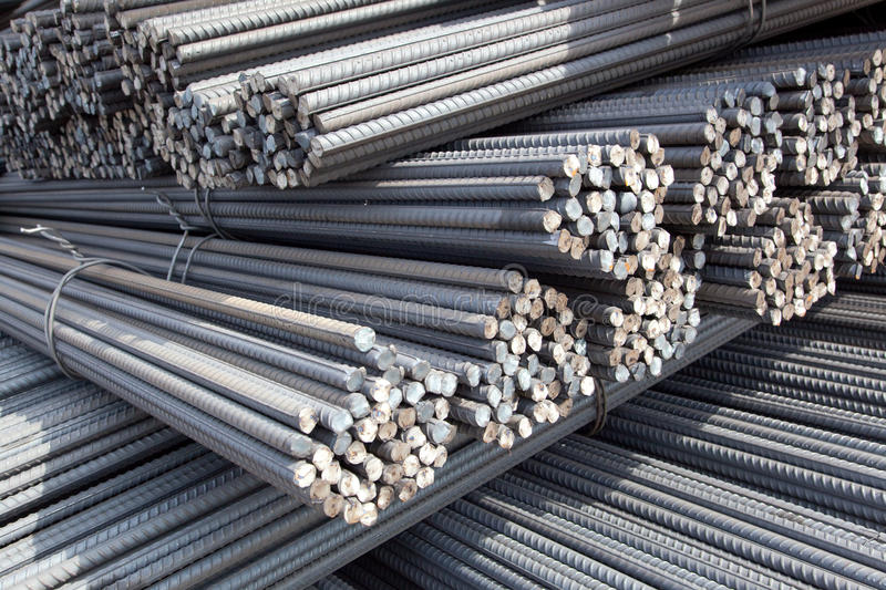 Piles of steel poles royalty free stock photos