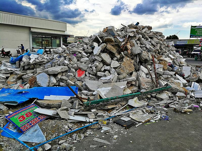 Piles of stone bricks caused by the destruction of buildings  Bangna, Thailand stock photography