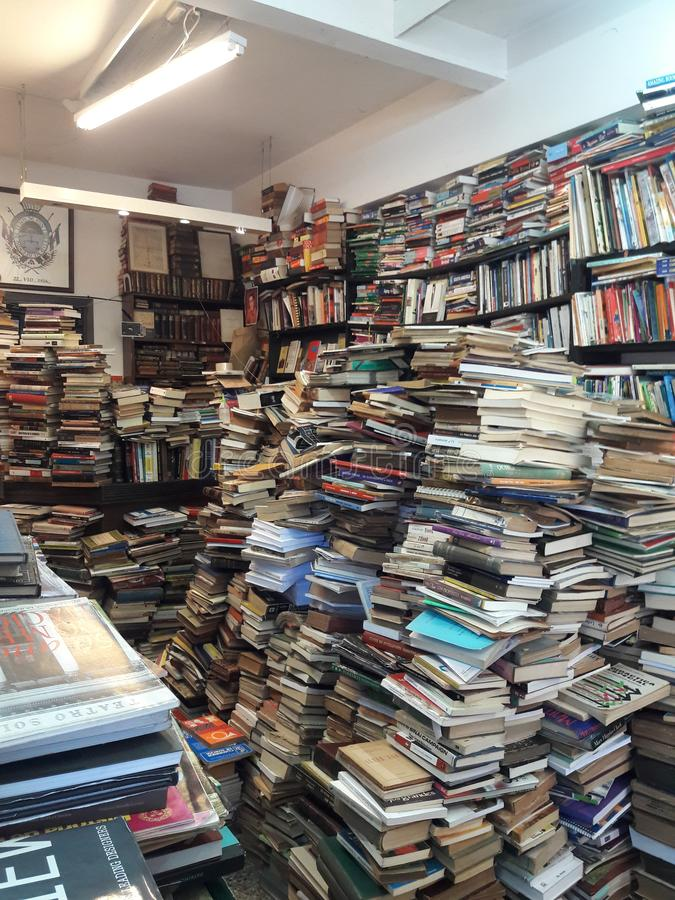 Piles of used books at bookstore in Montevideo Uruguay. Mess, stacks, travel, tourism royalty free stock photography