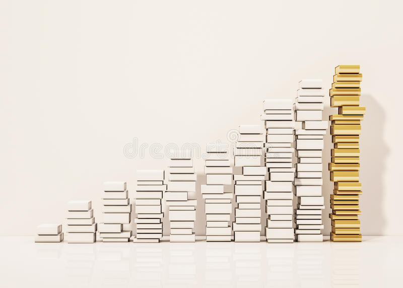 Piles of whiite books step rising up with the golden pile at top, 3d rendered royalty free illustration