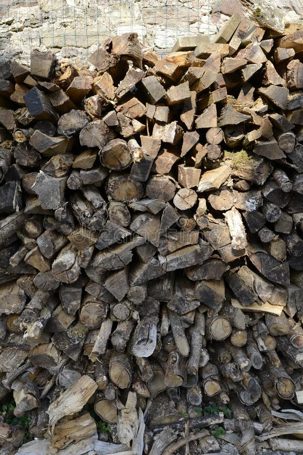 The piles of wood will heat us this winter and warm us by the fire, long live the countryside. royalty free stock photography