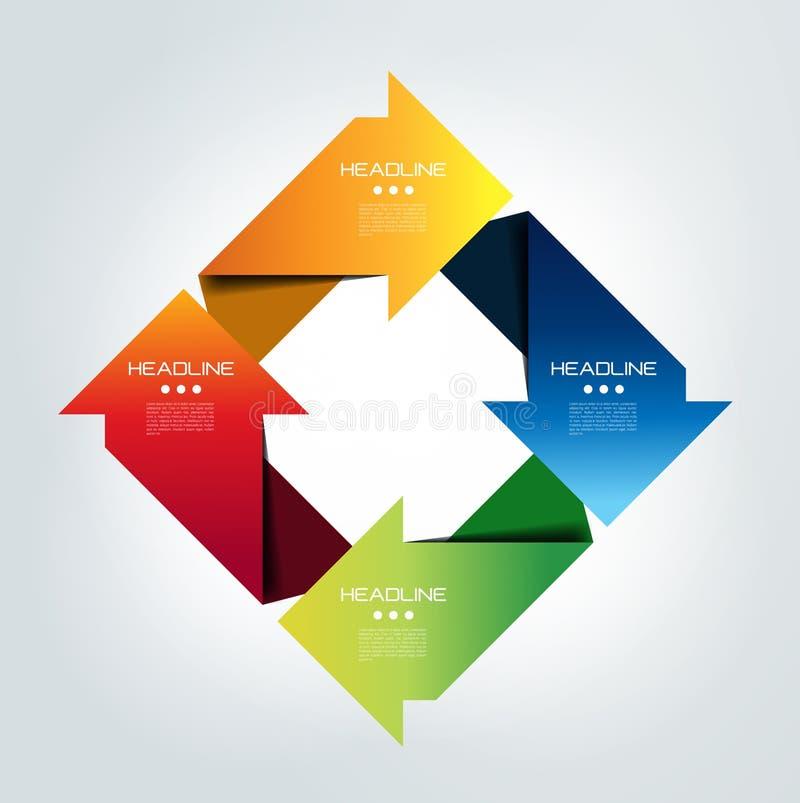 Pilfyrkant förbindelseinfographic design för 4 moment vektor illustrationer