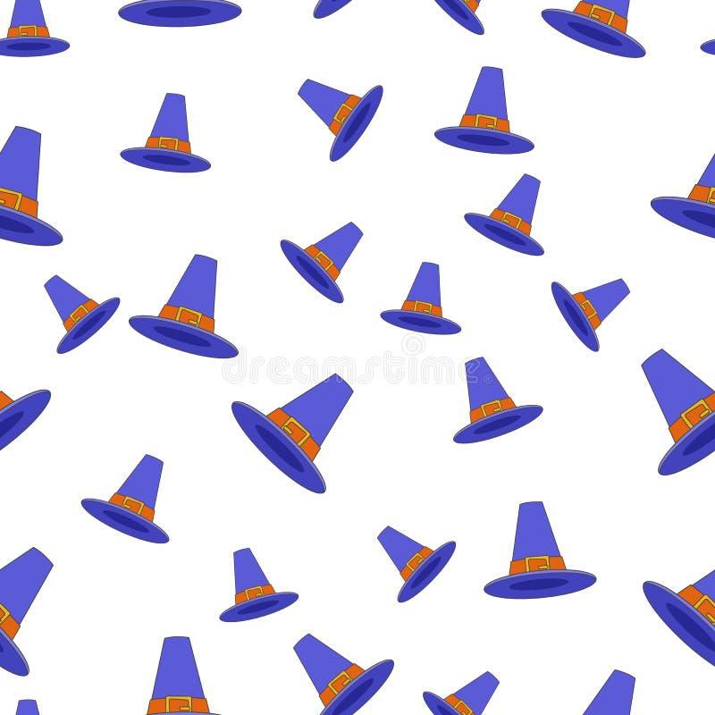 Pilger-Hut-flacher Vektor-nahtloses Muster auf Weiß stock abbildung