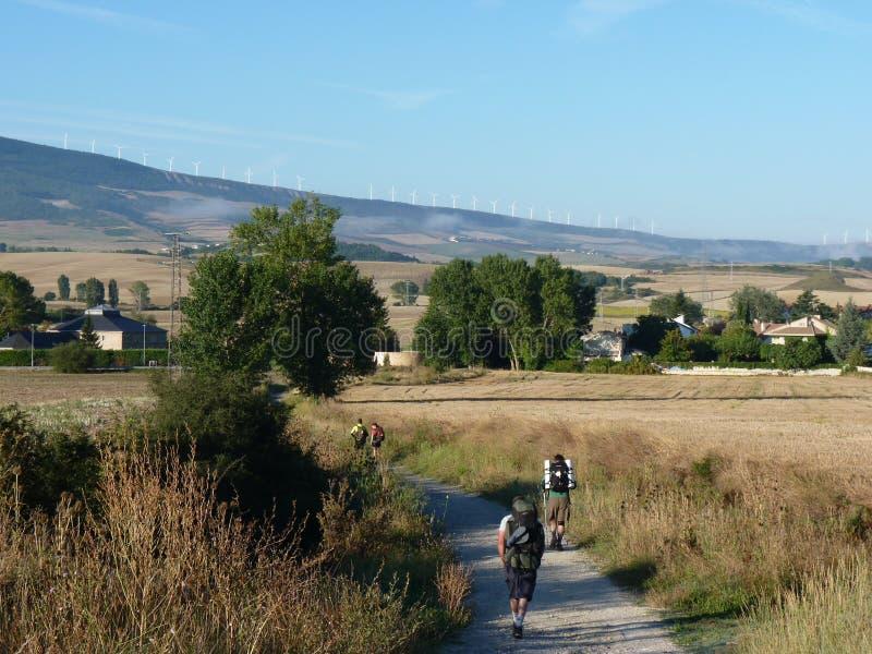 Pilger währenddessen von St James Leute, die auf Camino De Santiago gehen lizenzfreies stockfoto