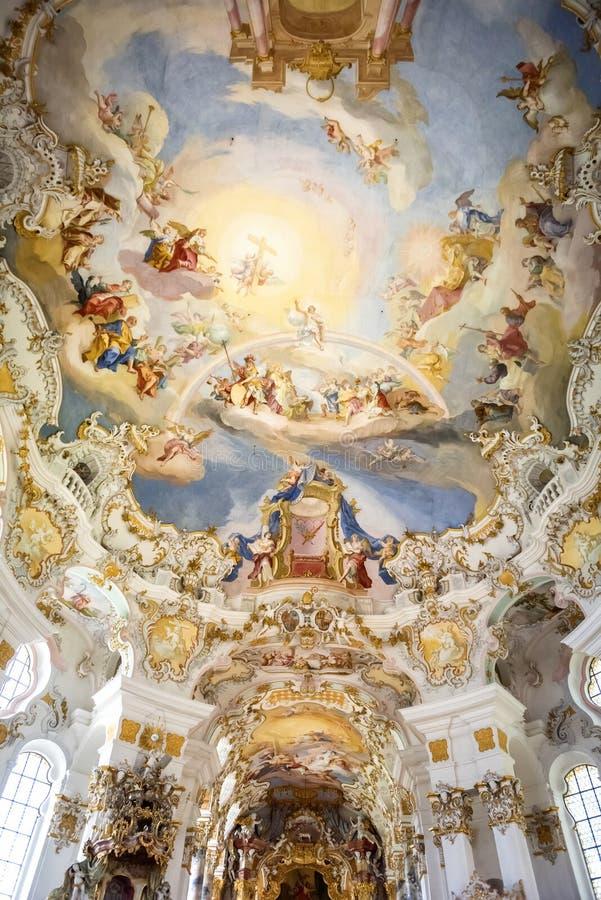 Pilgerfahrt-Kirche von Wies, Innenraum des churh - Wieskirche bei Steingaden auf der romantischen Straße im Bayern, Deutschland lizenzfreie stockbilder