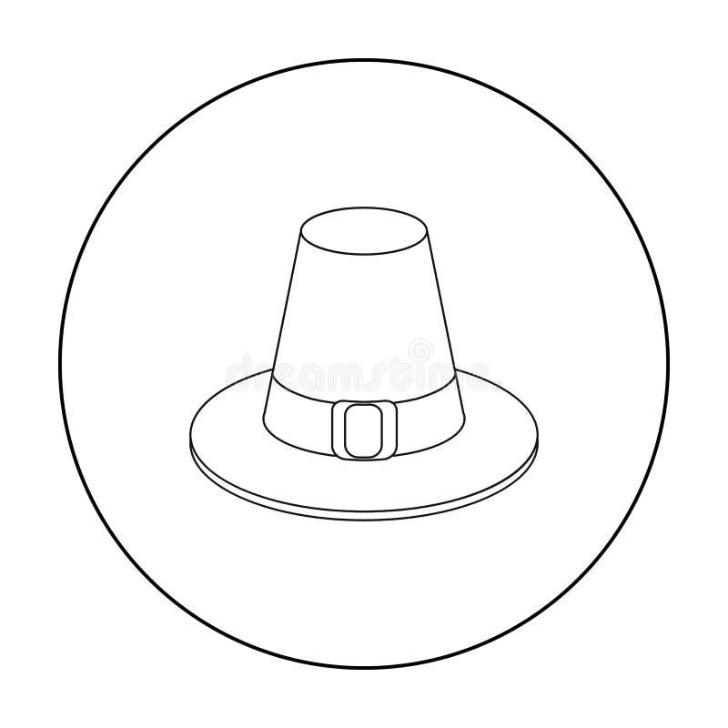 Pilgerhutikone in der Entwurfsart lokalisiert auf weißem Hintergrund Kanadischer Danksagungs-Tagessymbol-Vorratvektor lizenzfreie abbildung
