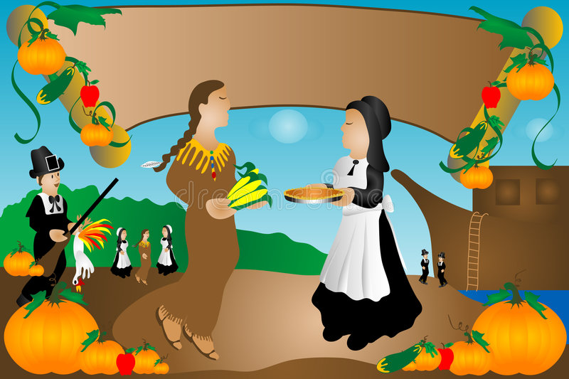 Download Pilgrams Meeting Indians stock illustration. Illustration of pilgrim - 1410452