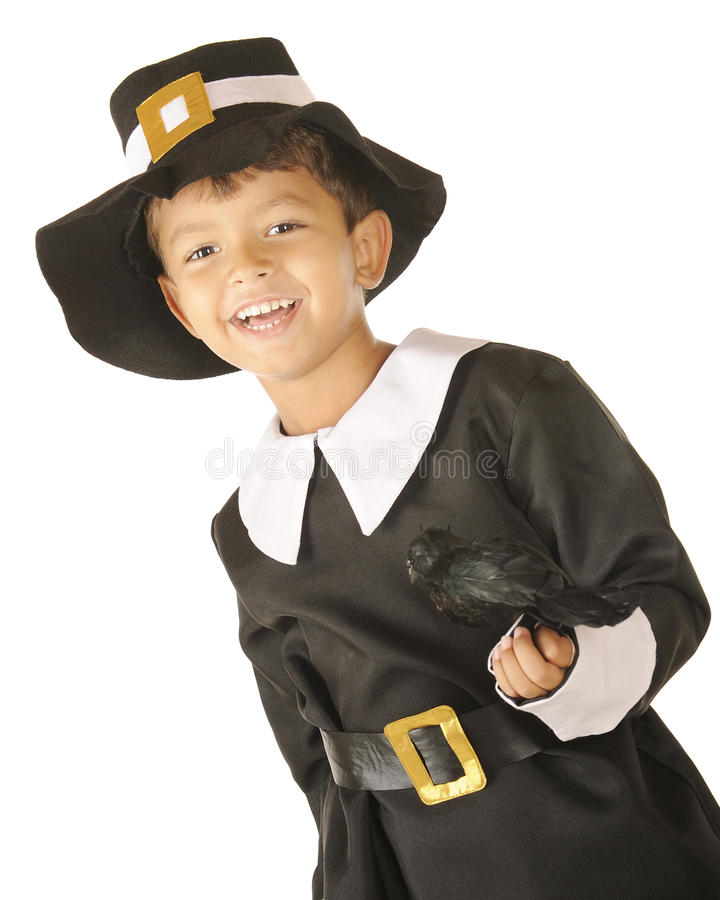 Download Pilgrim Boy, Happy With Bird Stock Image - Image: 21223551