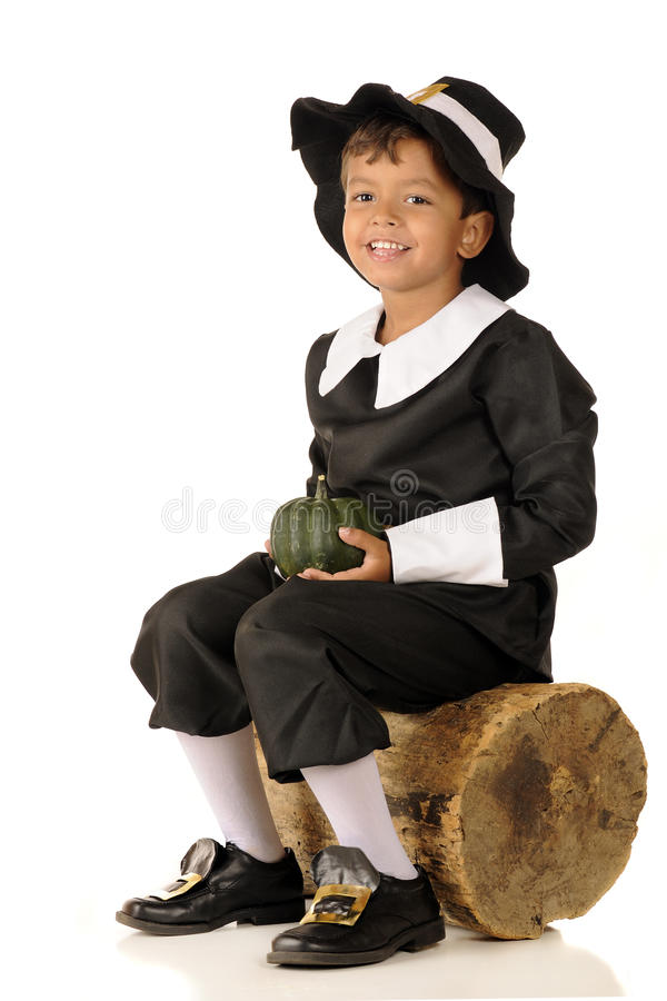 Pilgrim Boy with Squash stock photo