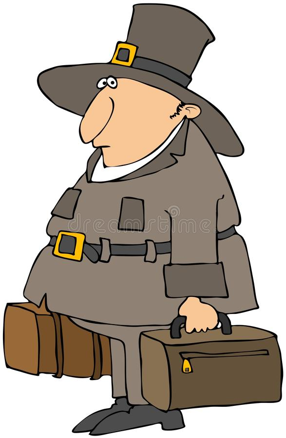 Pilgrim Carrying Suitcases royalty free illustration