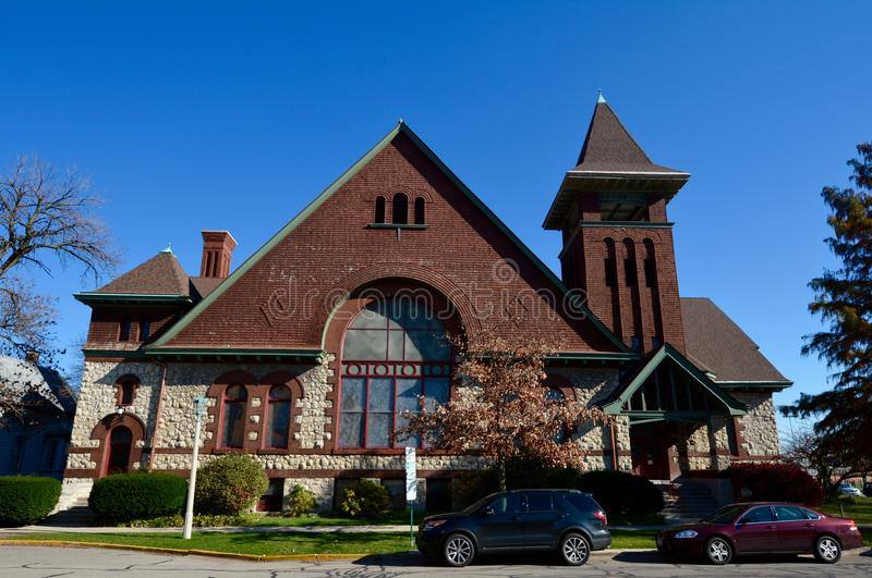 Pilgrim Congregational Church. This is a Fall picture of Pilgrim Congregational Church located in Oak Park, Illinois. The church was designed by The architects stock photography
