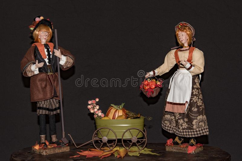 Pilgrim couple ready to celebrate Thanks Giving stock photo