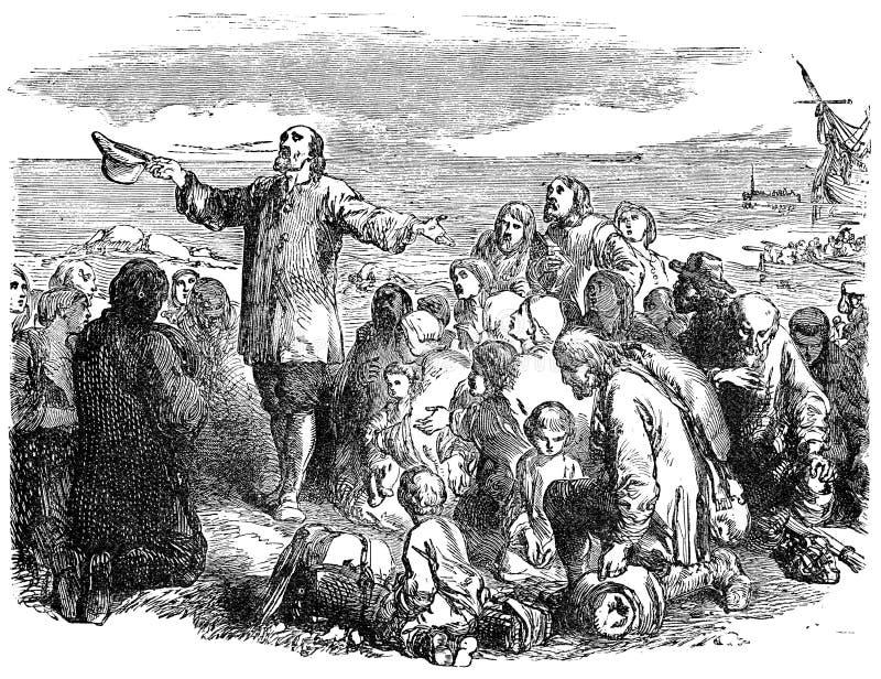 Pilgrim Fathers leaving England royalty free illustration
